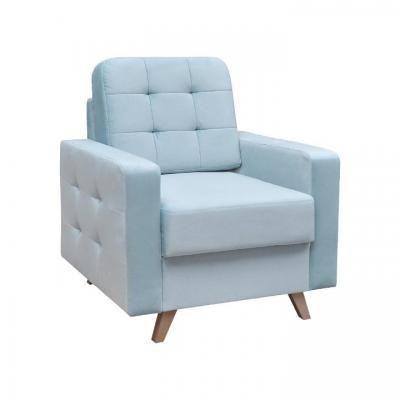 Szögletes fotel, steppelt, világoskék - ALEX